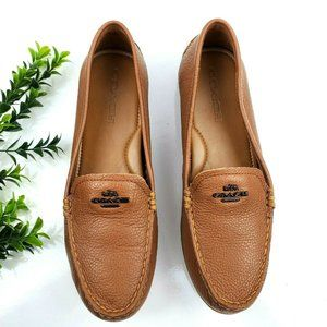 Coach Mary Lock Up Pebbled Leather  Loafers S2